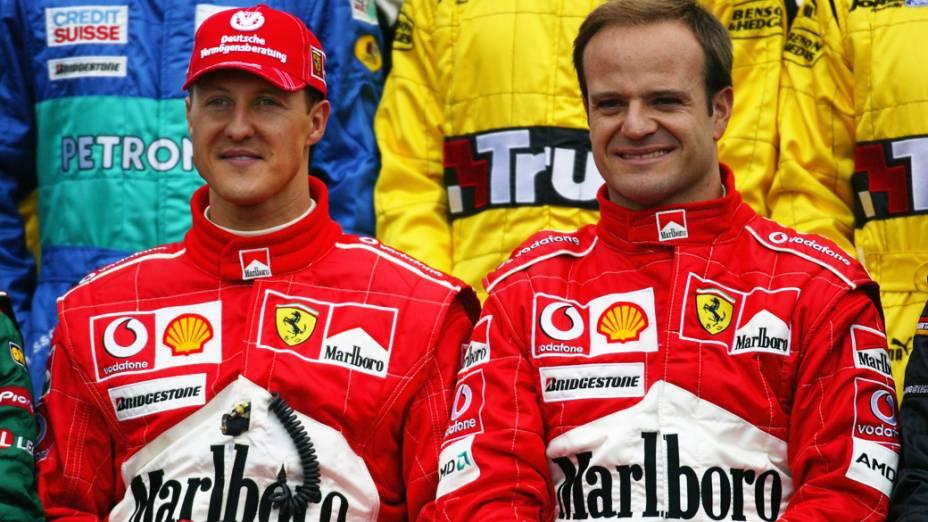 Michael Schumacher e Rubens Barrichelo, no GP da Austrália de 2004