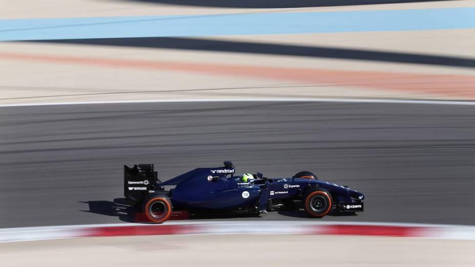 Piloto Felipe Massa, da Williams, durante o terceiro dia de testes da Fórmula 1, em Barein