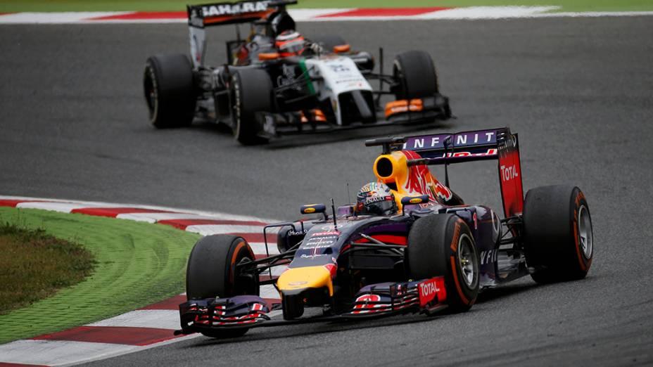 O piloto alemão Sabastian Vettel durante a competição do F1 Grande Prêmio da Espanha, no circuito de Barcelona-Catalunha