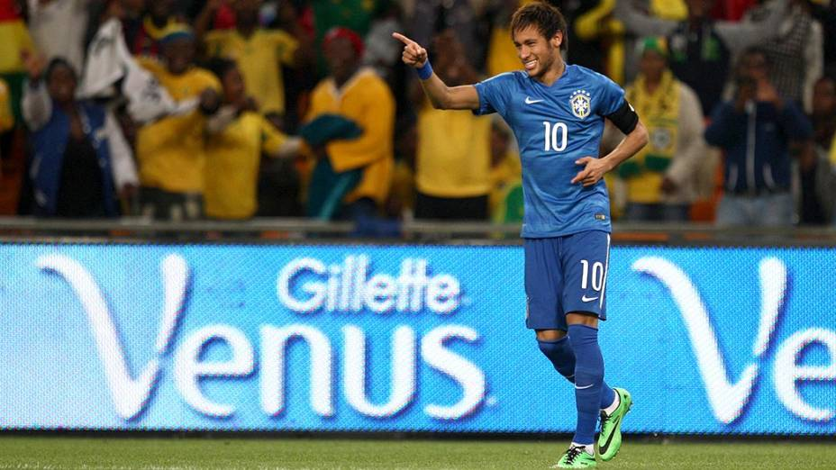 Neymar comemo seu gol no amistoso contra a África do Sul, em Johannesburgo