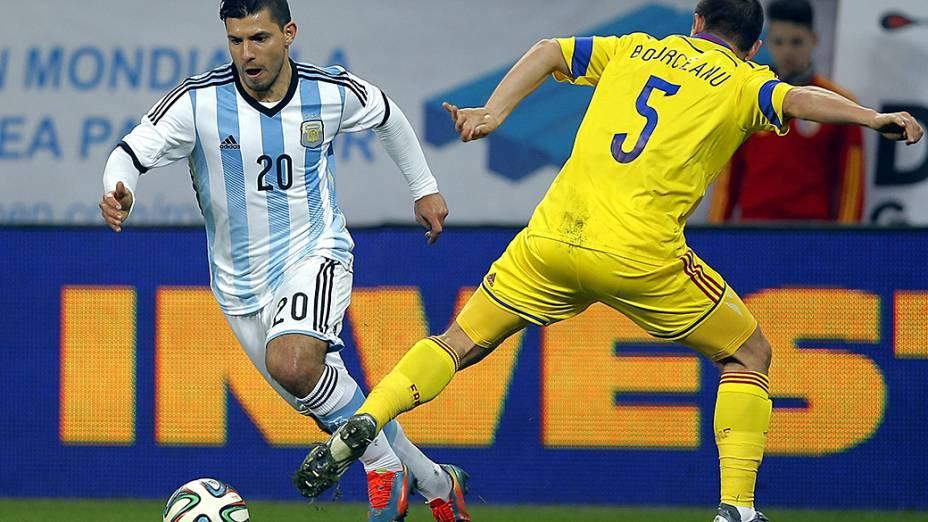 Kun Agüero no empate sem gols entre Argentina e Romênia em amistoso disputado em Bucareste