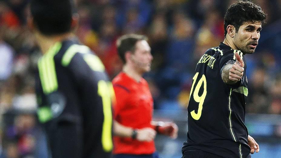 Diego Costa na vitória da Espanha por 1 a 0 sobre a Itália, em amistoso disputado no estádio Vicente Calderón em Madri