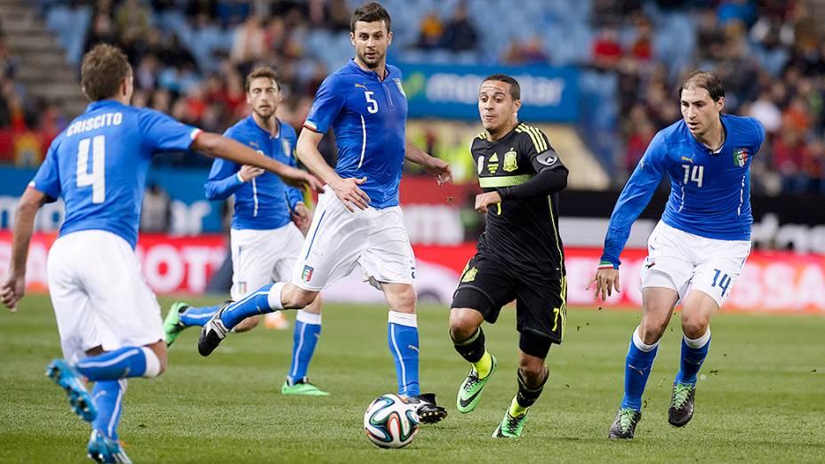 A Espanha venceu a Itália por 1 a 0 em amistoso disputado no estádio Vicente Calderón em Madri