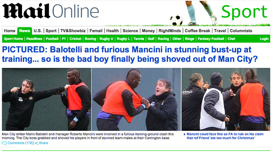 Atacante Mario Balotelli e técnico Roberto Mancini brigam durante treino do Manchester City
