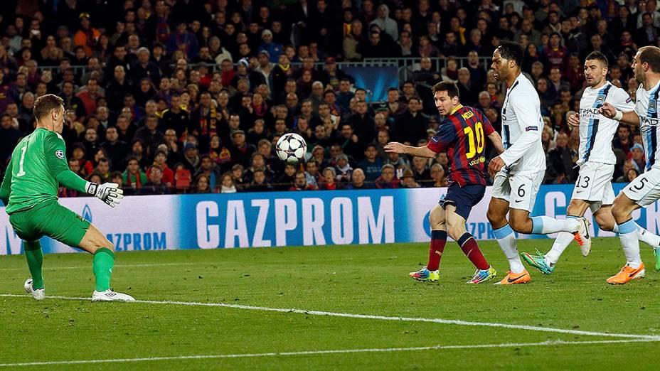 Messi marcou o primeiro gol do Barcelona na vitória por 2 a 1 sobre o Manchester City, na partida válida pelas oitavas de final da Liga dos Campeões