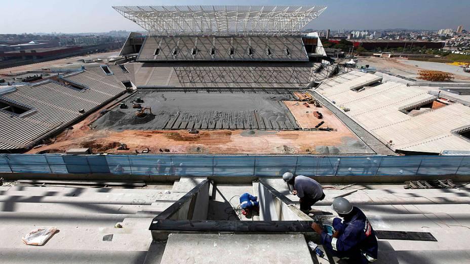 Obras no estádio do Corinthians em Itaquera, em maio de 2013