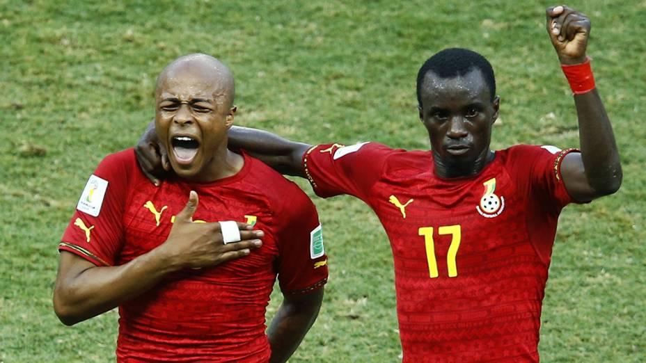 Jogadores de Gana comemoram gol contra a Alemanha no Castelão, em Fortaleza
