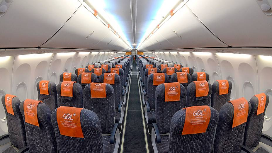 Foto interna do avião que irá transportar a seleção brasileira durante a Copa de 2014