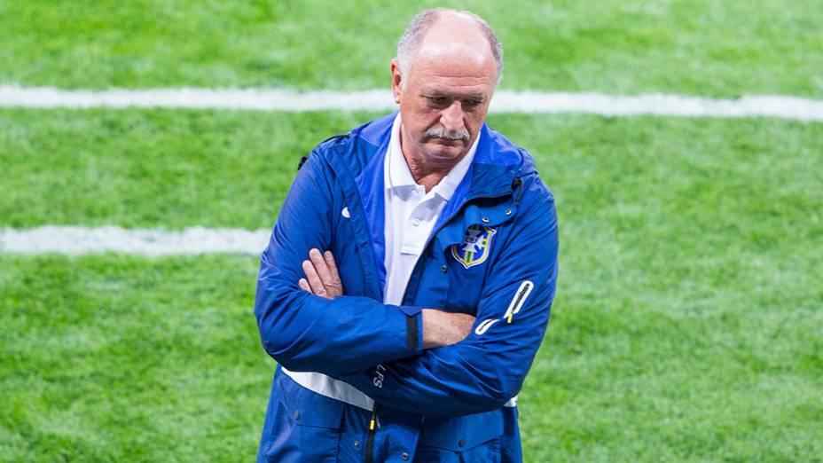 O técnico Luiz Felipe Scolari durante o jogo contra a Alemanha
