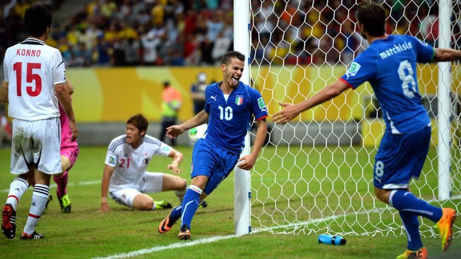 Jogador Sebastian Giovinco da Itália, comemora quarto gol contra o Japão, pela Copa das Confederações em Recife