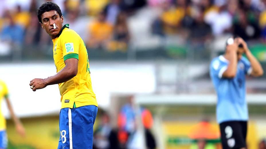 Jogador Paulinho, do Brasil, no jogo contra o Uruguai, pela Copa das Confederações em Belo Horizonte