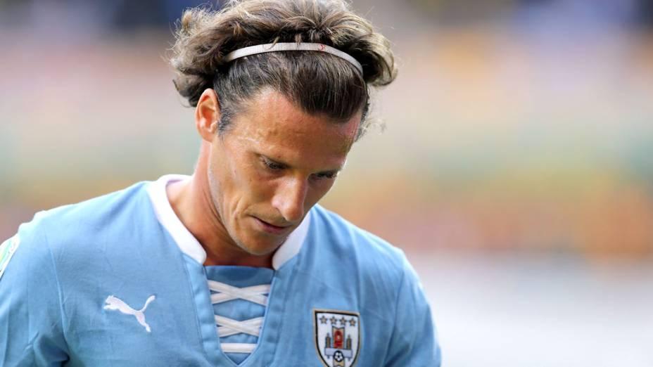 Jogador Forlán, do Uruguai, no semifinal contra o Brasil pela Copa das Confederações, em Belo Horizonte