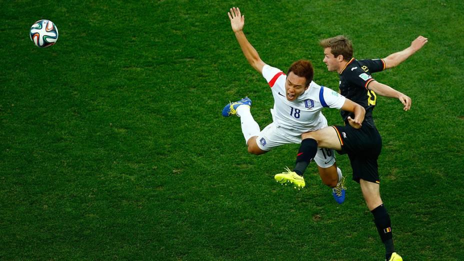 Lance no jogo entre a Coreia do Sul e Bélgica no Itaquerão, em São Paulo
