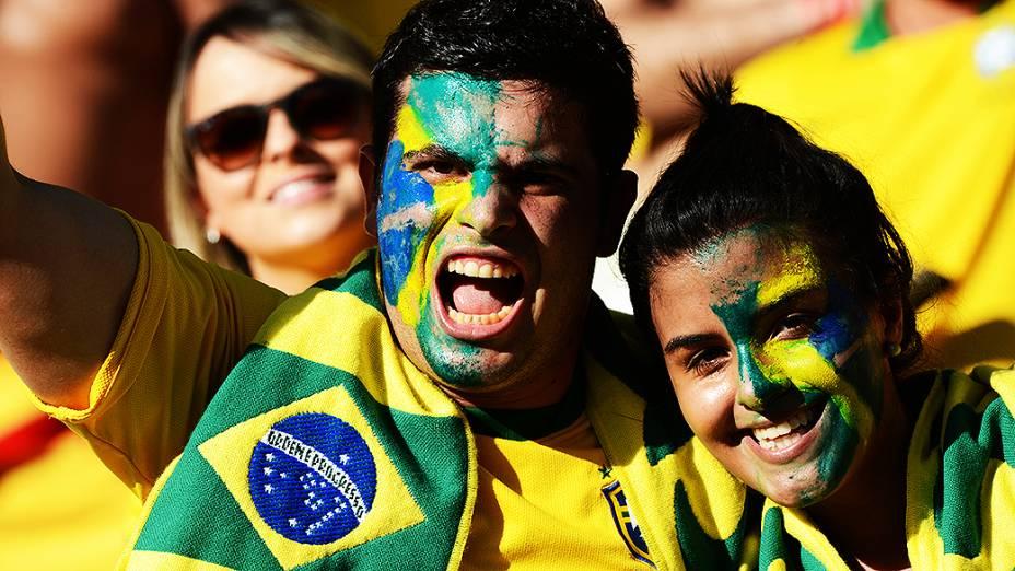 Torcedores do Brasil no jogo contra o México, pela Copa das Confederações nesta quarta-feira (19), em Fortaleza