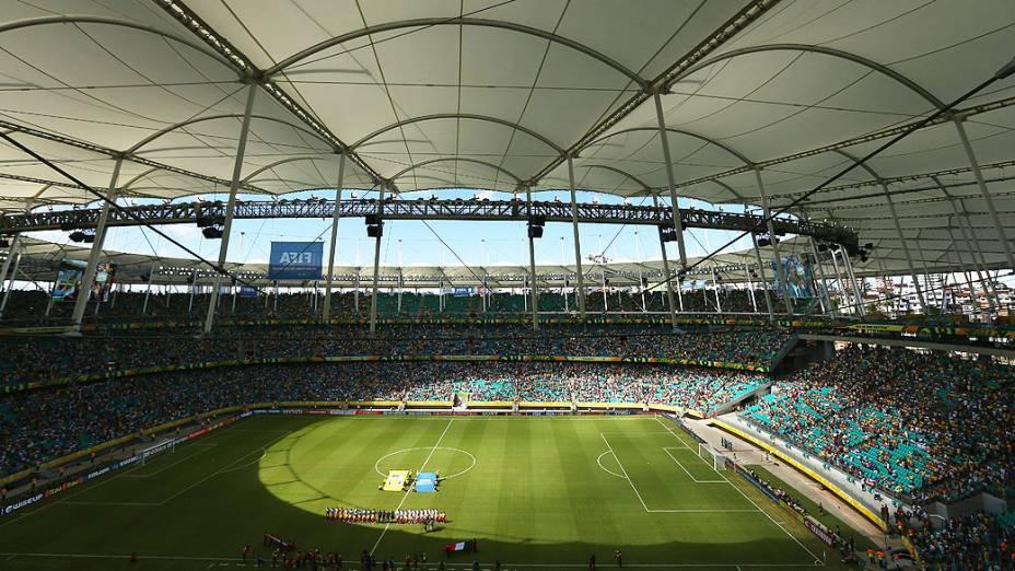 Vista Geral da Arena Fonte Nova durante Copa das Confederações na dipusta pelo terceiro lugar entre Itália e Uruguai em Salvador