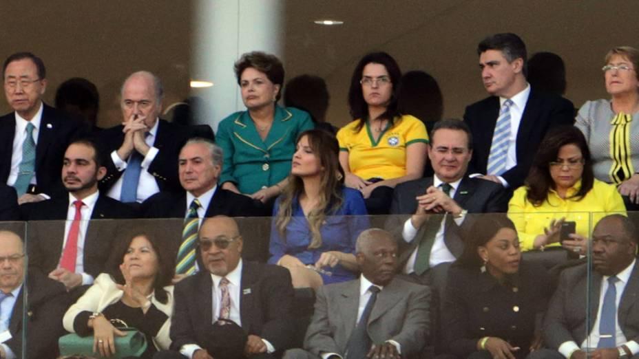 A presidente Dilma ao lado do presidente da Fifa Joseph Blatter durante cerimônia de abertura da Copa do Mundo realizada na Arena Corinthians, em Itaquera, na zona leste de São Paulo (SP)