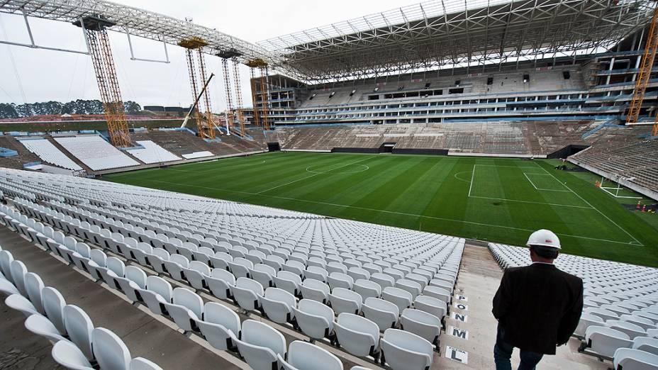 Obras do Itaquerão em estágio avançado. O futuro estádio do Corinthians no bairro de Itaquera, na zona leste de São Paulo será o palco do jogo de abertura da Copa do Mundo 2014