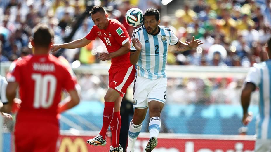 Lance no jogo entre Argentina e Suiça no Itaquerão, em São Paulo