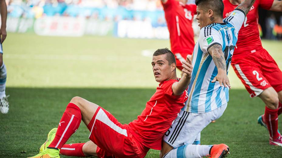 Lance no jogo entre Argentina e Suíça no Itaquerão, em São Paulo