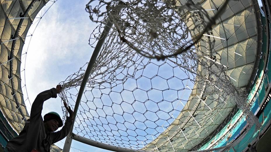 Arena Fonte Nova, na Bahia recebe os últimos ajustes para inauguração. O estádio receberá jogos da Copa das Confederações