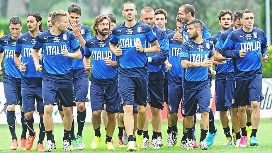Seleção italiana durante preparação para a Copa do Mundo, no centro de treinamento Coverciano, perto de Florença