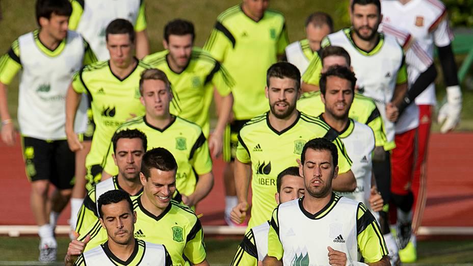 Jogadores da Espanha realizam preparação paraCopa do Mundo, em Las Rozas, cidade próxima a Madri