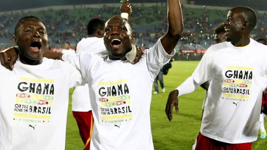 Jogadores da seleção de Gana comemoram a classificação para a Copa do Mundo de 2014