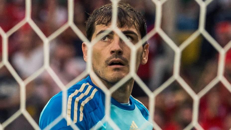 O espanhol Iker Casillas durante o jogo contra o Chile no Maracanã, no Rio