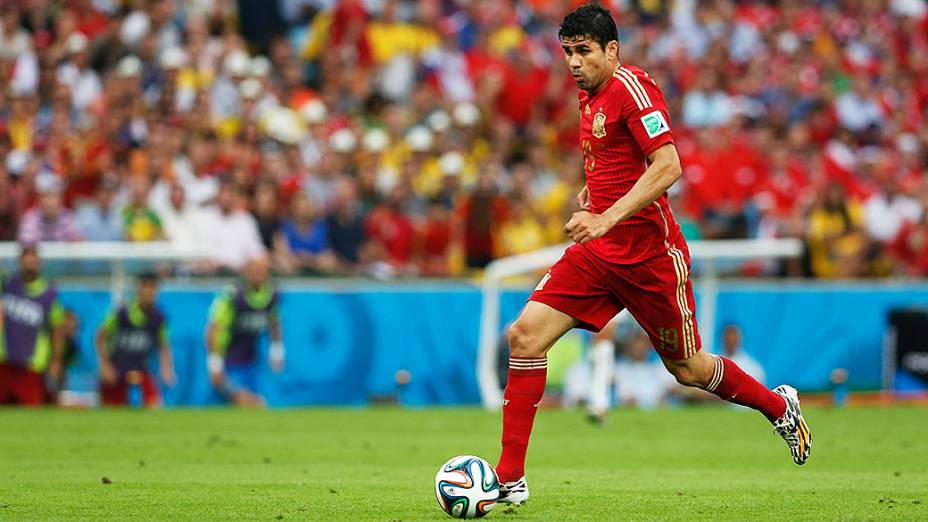 O brasileiro naturalizado espanhol Diego Costa durante o jogo contra o Chile no Maracanã, no Rio