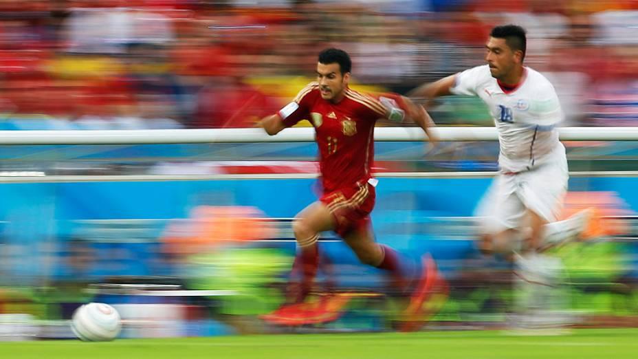 Lance no jogo entre Espanha e Chile no Maracanã, no Rio