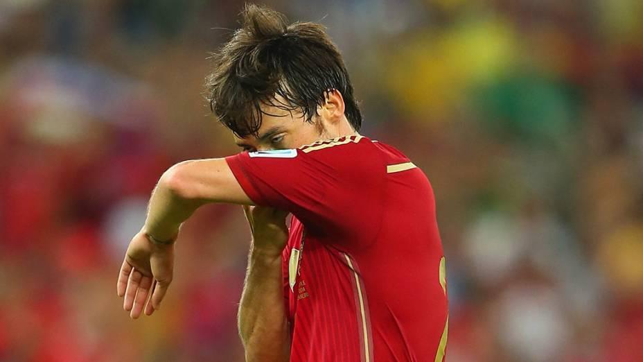 O espanhol David Silva lamenta a derrota para o Chile no Maracanã, no Rio