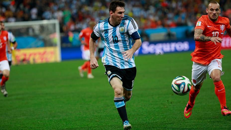 Messi durante o jogo contra a Holanda no Itaquerão, em São Paulo
