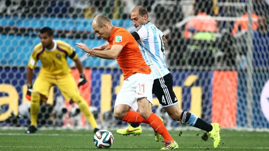 O holandês Robben durante o jogo contra a Argentina no Itaquerão, em São Paulo