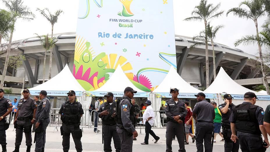 Maracanã tem policiamento reforçado para a partida entre Rússia e Bélgica