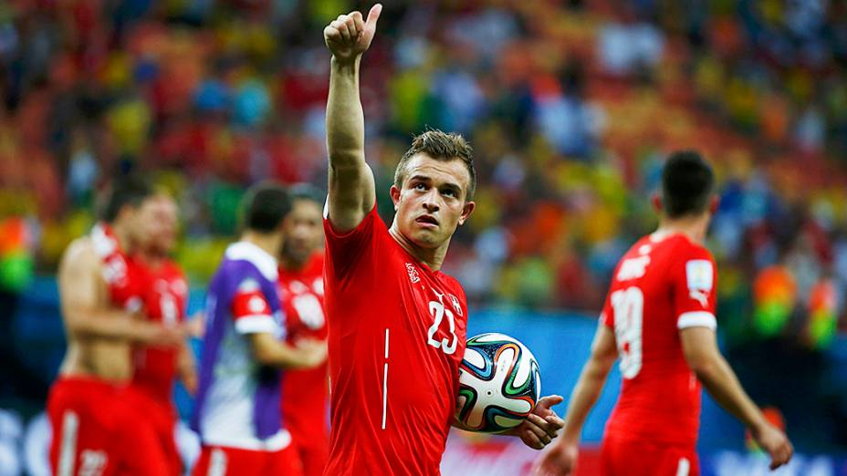 Xherdan Shaqiri marcou todos os gols da vitória por 3 a 0 da Suíça sobre Honduras, na Arena Amazônia, em Manaus
