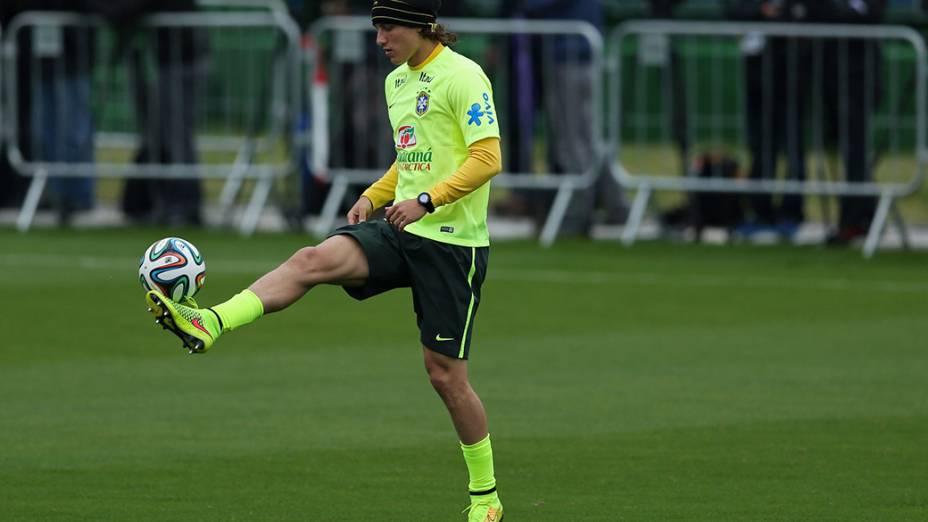 David Luiz durante treino da seleção brasileira na Granja Comary, em Teresópolis