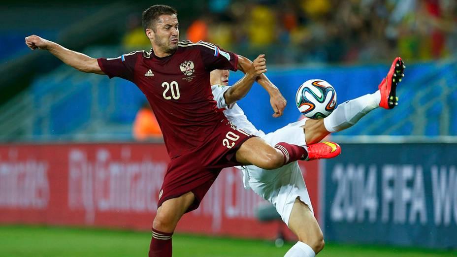 Lance no jogo entre a Rússia e Coreia do Sul na Arena Pantanal, em Cuiabá