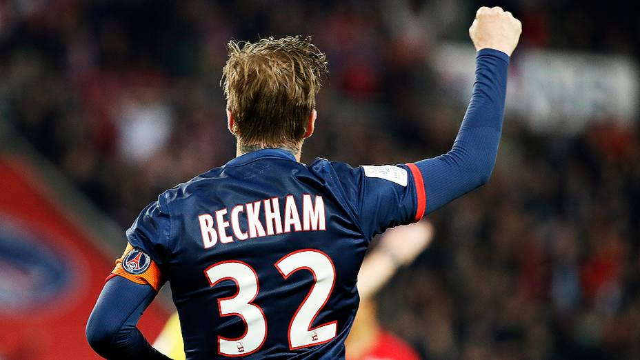 David Beckham em partida do PSG contra o Brest, válida pela penúltima rodada do campeonato francês