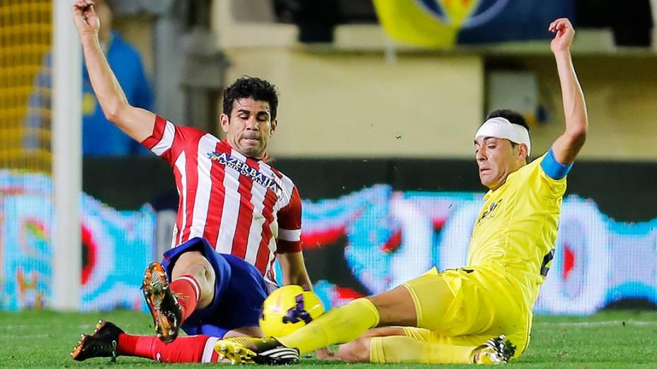 Diego Costa, na partida de domingo contra o Villarreal: contusão adia estreia na seleção espanhola