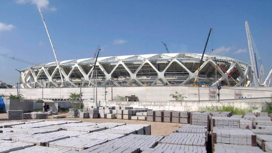 Vista externa da Arena Amazônia, em Manaus