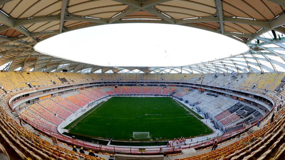 Vista interna da Arena Amazônia, em Manaus