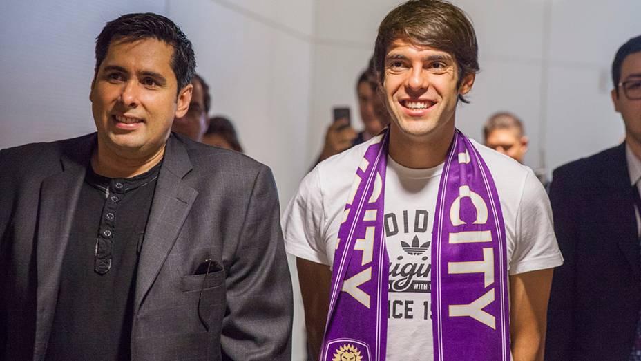 O empresário brasileiro Flávio Augusto da Silva, dono do Orlando City recebe Kaká, novo reforço da equipe