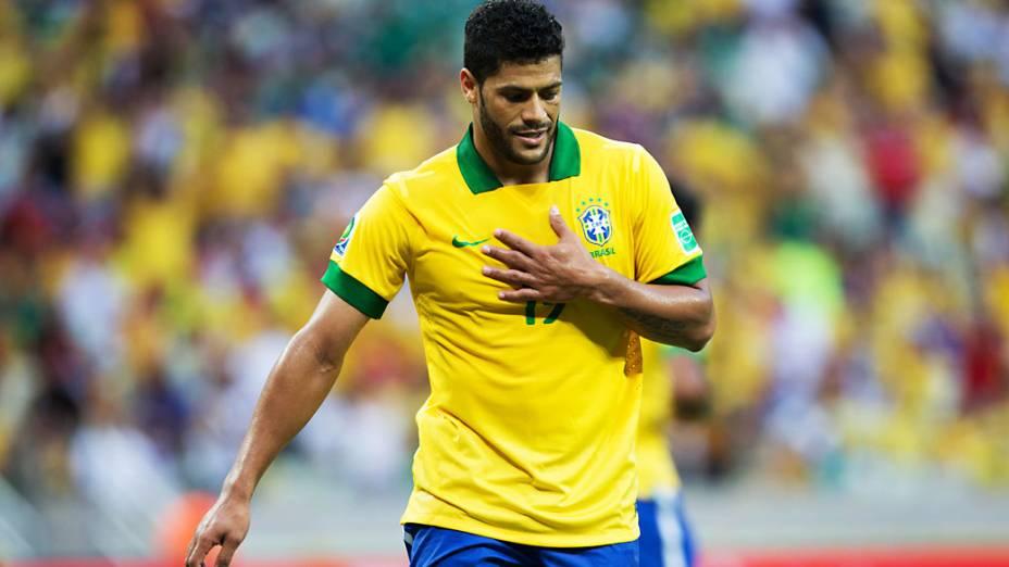 Jogador Hulk no jogo contra o México, pela Copa das Confederações em Fortaleza