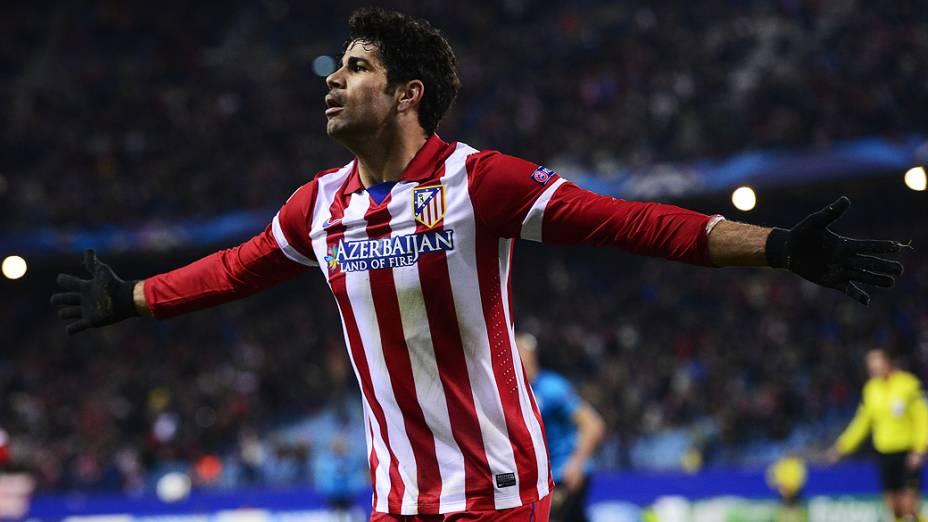 Diego Costa comemora gol marcado na vitória do Atlético de Madrid sobre o Porto por 3 a 2, em partida válida pela Liga dos Campeões