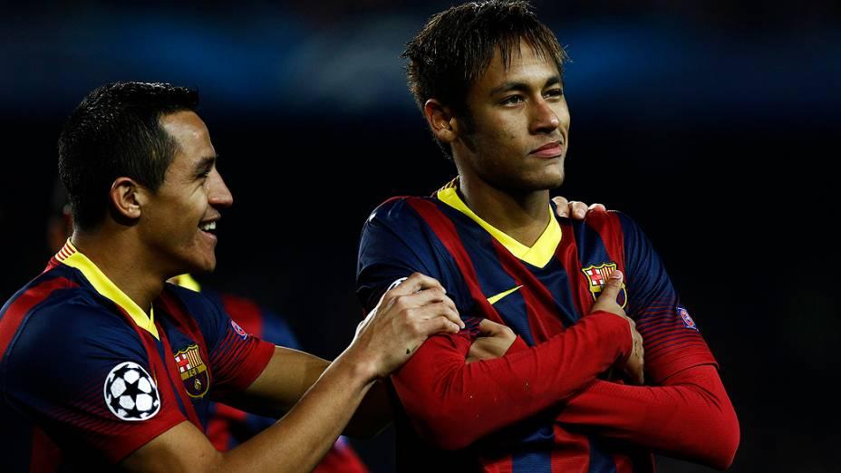 Neymar comemora gol marcado na vitória do Barcelona sobre o Celtic, em partida válida pela Liga dos Campeões