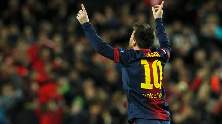 Lionel Messi comemora o primeiro gol do Barcelona