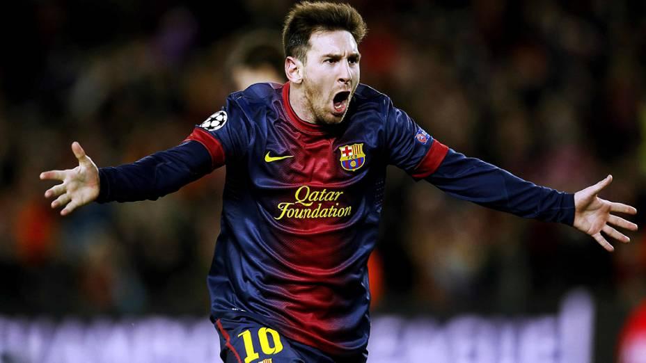Lionel Messi comemora o segundo gol do Barcelona