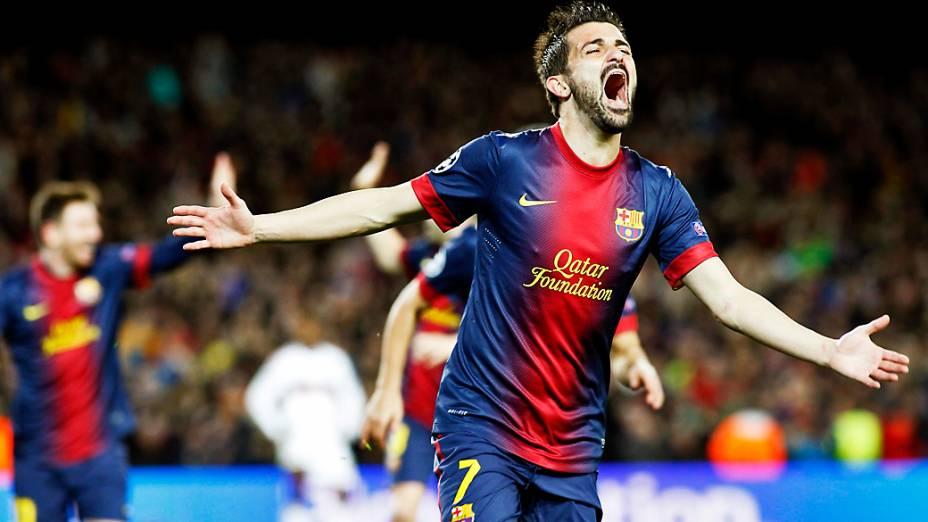 David Villa comemora o terceiro gol do Barcelona