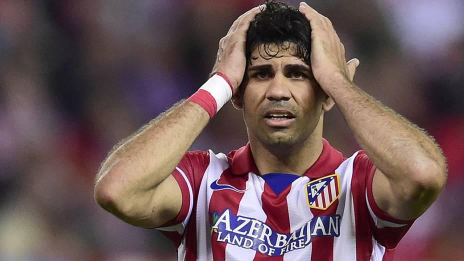 Jogador Diego Costa, do Atlético de Madri, durante partida contra o Chelsea pela Liga dos Campeões, na Espanha