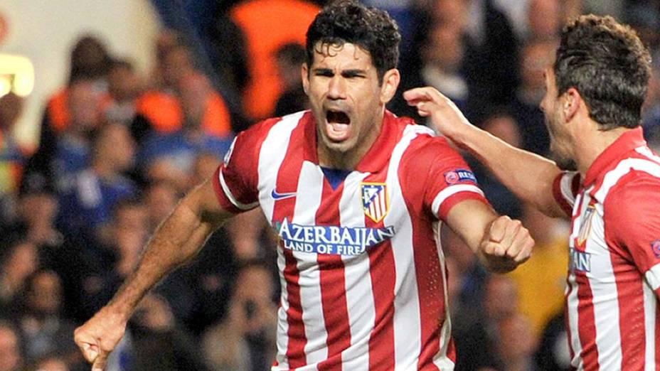 Diego Costa comemora gol pelo Atlético de Madri contra o Chelsea, na Liga dos Campeões